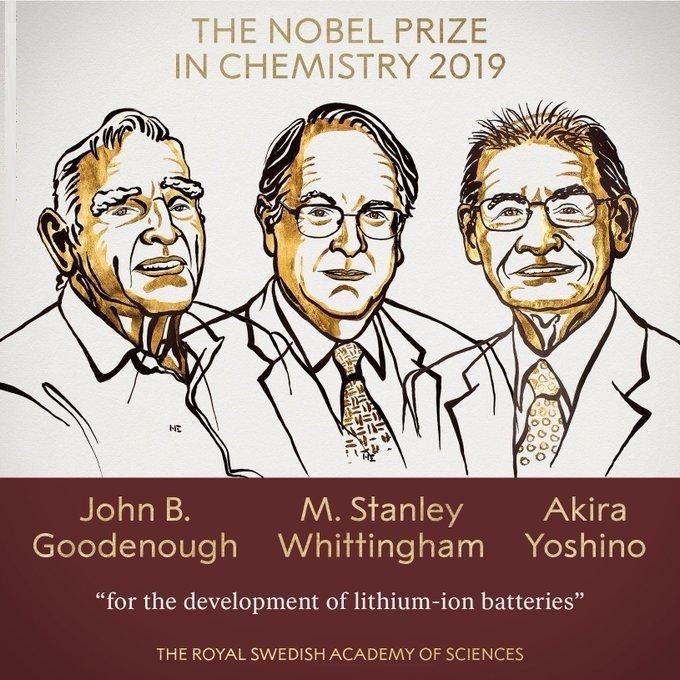 લિથિયમ આયર્ન બેટરીના વિકાસ માટે રસાયણ ક્ષેત્રમાં ત્રણ વૈજ્ઞાનિકોને નોબેલ પ્રાઇઝ એનાયત