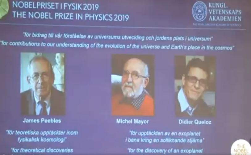 કેનેડિયન મૂળના અમેરિકન વૈજ્ઞાનિક જેમ્સ પીબલ્સ સહિત 2 વૈજ્ઞાનિકોને ભૌતિકનું નોબેલ